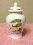 2 Birds Japan Miniature Covered Jar Or Urn