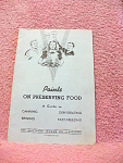 1943 Points On Preserving Food Booklet