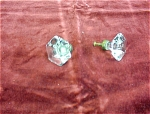 Pair Of Glass Door Knobs With Brass Fittings