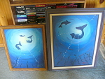 2 Original Oil Circling Dolphins Paintings On Canvas