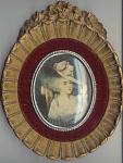 Victorian Blond Woman Print With Molded Plaster Frame