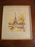 Paris Tour Eiffel With Manw Girard Water Color Print