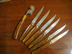 Set Of Bakelite Or Catlin 6 Knives And Knife Sharpener