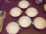 6 Edwin M. Knowles Double Handled Soup Bowls