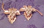 Vermeil Leaf Pin W/faux Pearls