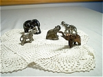Collection Of 5 All Metal Elephant Figurines