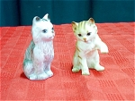 Duo Of Pottery Cat Figurines