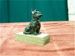 Black Cast Metal Scottie Dog On A Wood Stand
