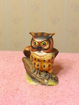 4 Inch Owl Hand Painted Ceramic Figurine Marked 1882