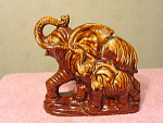 Mother And Baby Elephant Red Clay Figurine