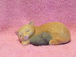 Sleeping Cat With Cuddling Mouse Figurine, Very Cute