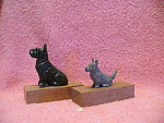 Pair Of Cast Metal Scottie Dog Figurines On Wood Bases