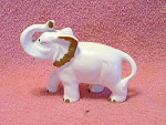 White And Gold Colored Baby Elephant Figurine