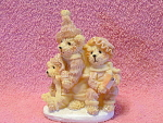 Polystone Christmas Bear Figurine With Ma, Pa And Baby