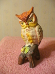 Bisque Owl Figurine On A Branch With Wandering Eyes