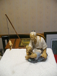 Fired Oriental Mud Figurine Of Fisherman With Pole