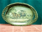 Oval Wicker Currier & Ives Basket