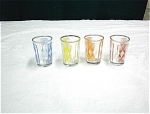 4 Art Glass Double Shot Glasses