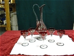 Czechoslovakian Glass Decanter With 5 Stems