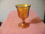Carnival Glass Goblet With The Grape And Leaf Pattern