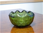 Green Depression Glass Ruffled Candy Dish