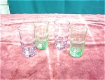 4 Depression Glass Juice Glasses