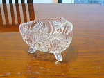 3 Footed Crystal Glass Candy Or Nut Dish