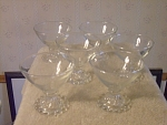 Set Of 6 Hobnail Base Glass Sherbets With 3 Part Mold