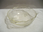 Depression Glass Grape And Leaf Bowl With 3 Point Hand
