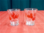 2 Anchor Hocking Rooster & Cherry Glasses