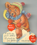 Very Cute 1940s Bear On Skater Valentine Card Flat