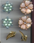 Lot Of 3 Pairs Of Costume Clip On Earrings