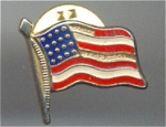 American Flag Cloisonné Face And Gold Metal Pin