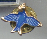 Bluebird Cloisonné Face And Gold Metal Pin