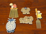 Collection Of 5 Kitchen Refrigerator Magnets