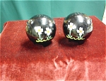 Pair Of Hand Painted Floral Balls