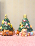 Hand Painted Pair Of Christmas Tree Salt N Pepper Set
