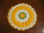 Hand Crocheted White And Yellow Circular Hot Pad With F