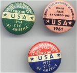 3 United Steelworkers Pin Back Buttons
