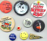 Collection Of 9 Buttons From 1960s To 1990s