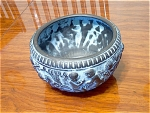 Unusual Black Pottery Bowl With Children Decorative