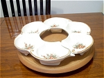Pottery Lazy Susan With Wood Swivel Base