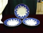 3 Flow Blue Deep Soup Bowls, 9 ¾ Inches