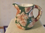 Majolica Style Water Pitcher In An Autumn Leaf Pattern
