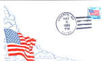 Flag With Clouds, 1 Stamp Liberty, Ny 1988 Fdc