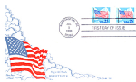 Flag With Clouds, 2 Stamp Washington, Dc 1988 Fdc