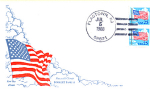 Flag With Clouds, 2 Stamp Flagtown, Nj 1988 Fdc