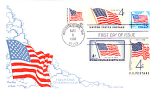 Flag With Clouds, 5 Stamp, 1988 Fdc