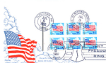Flag With Clouds, Let Freedom Ring, 6 Stamp, 1988 Fdc
