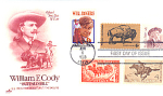 William F. Cody, Buffalo Bill, 5 Stamp Cody, Wy 1988 Fd